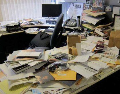 image of messy desk