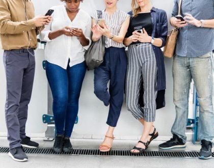 image of people using social media